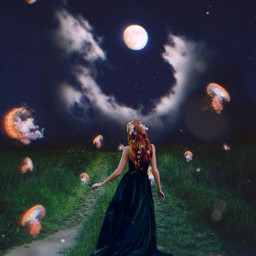 freetoedit woman jellyfish grass moon
