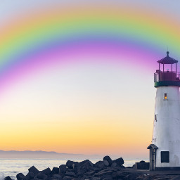 rainbows lighthouse freetoedit