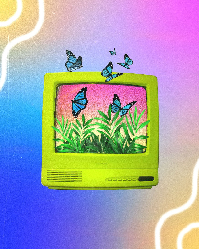Dreaming is free 🦋 #collageoftheday #collage #collagemaker #aesthetic #retro #90s #tv #butterfly #colorful