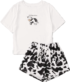 vsco pajamaparty pjs cow cowprint