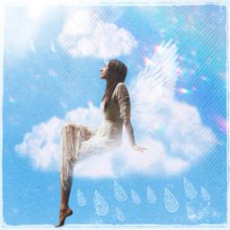 freetoedit clouds angel bluesky woman