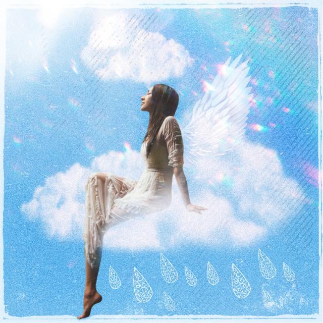 #freetoedit #clouds #angel #bluesky #woman #sunny #prismeffect #happy