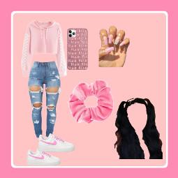 freetoedit pinknails blackhair pinkscrunchie rippedjeans