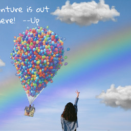 freetoedit rainbows up ballons adventureisoutthere irctouchthesky touchthesky
