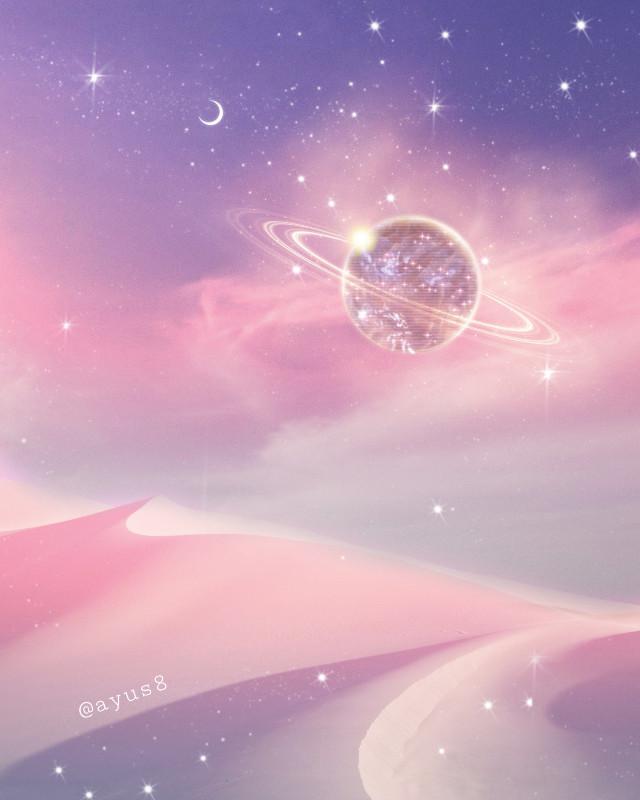 My YouTube Channel♡https://www.youtube.com/channel/UC3tYUDmzch-k7XTkNKSwF0Q       Happy Weekend✨💕😊          #myedit #myart #spaceart #space #sky #planets #moon #stars #shine #sparkle  #clouds #desert #nature #magicalart #fantasyart #madewithpicsart #unsplash
