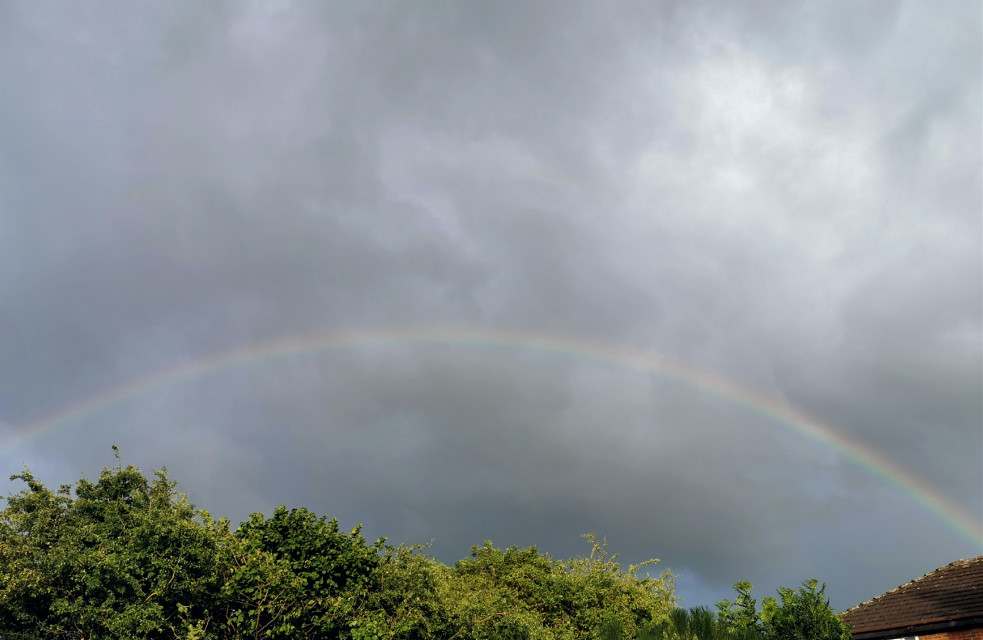Just spotted this fading rainbow #skyandclouds #rainbow #viewfrommywindow #freetoedit