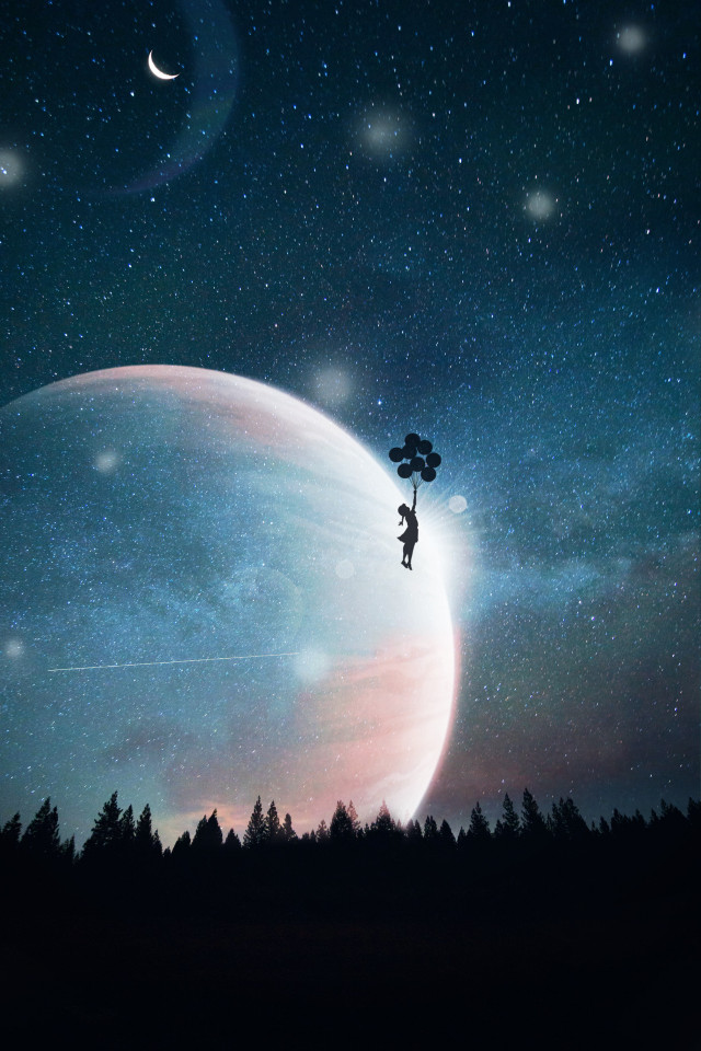 #freetoedit #galaxy #galaxyedit #planets #moon #balloons #girl #colorful #beauty #sparkles #lovely #space #stars #trees #forest #beauty #be_creative #art #myedit