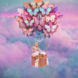 freetoedit balloon sky girly clouds