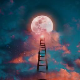 freetoedit ladder moon sky heaven