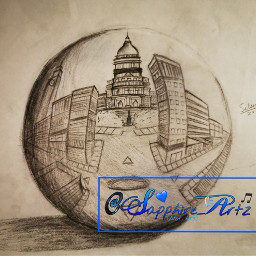 freetoedit sphere orb drawing city schoolproject
