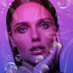 freetoedit neon gradient bubbles portrait
