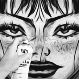 freetoedit graffitistyle blackandwhiteedit