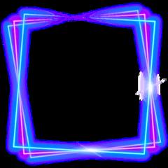 square border neon geometric frame freetoedit