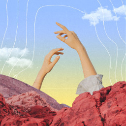 collage collageoftheday surreal mountain hands
