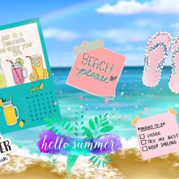 summer cute calendar june freetoedit