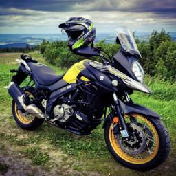 yellow landscape suzuki suzukivstrom650xt motorcycle freetoedit