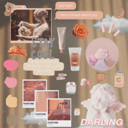 freetoedit peach aesthetic collage moodboard