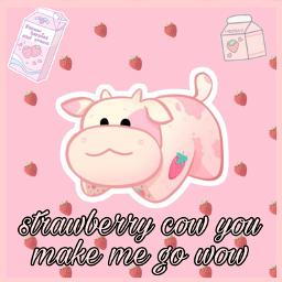 freetoedit strawberrycow cow strawberry aesthetic