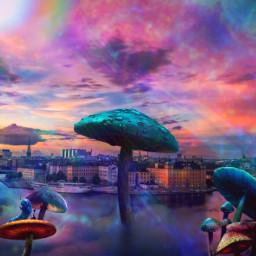 freetoedit psychedelic landscape fungi world
