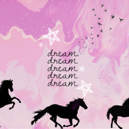 horses dream horseriding pink silhouettestickers freetoedit