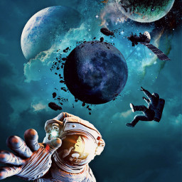 freetoedit space surreal planet cosmonaut
