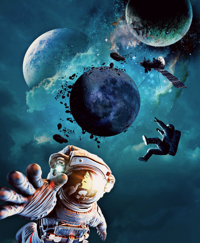 #freetoedit #space #surreal #planet #cosmonaut #cosmos #galaxy #satellite #sky #clouds