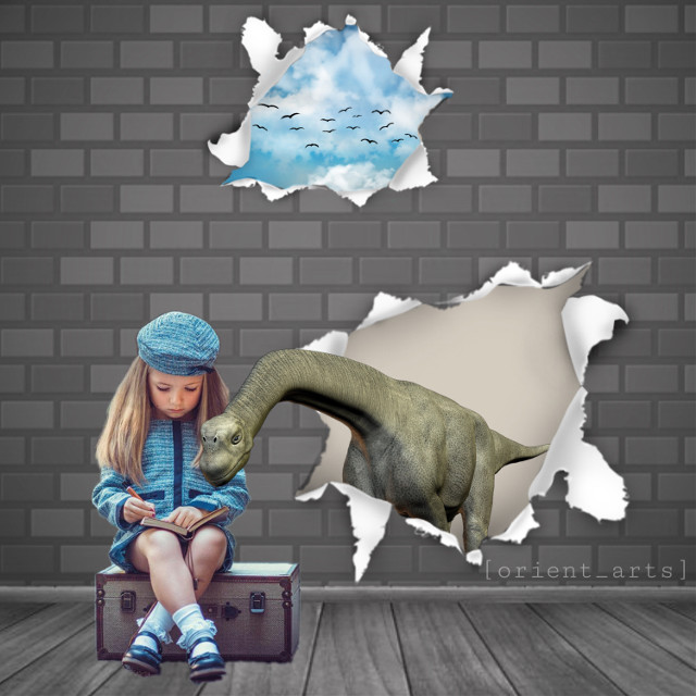 Inspired by: @meeori   Background and frame design by: @meeori   Thank you so much ❤️   @meeori is an amazing PicsArtist. Follow, like and share her edits.   #freetoedit #papicks #madewithpicsart #frame #wall #girl #dinosaur #hole #heaven #birds #threedimensional #meeori #orient_arts #picsart @meeori