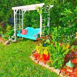 freetoedit garden swing flowers watercolor