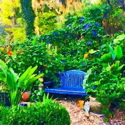 freetoedit garden green bench watercolor