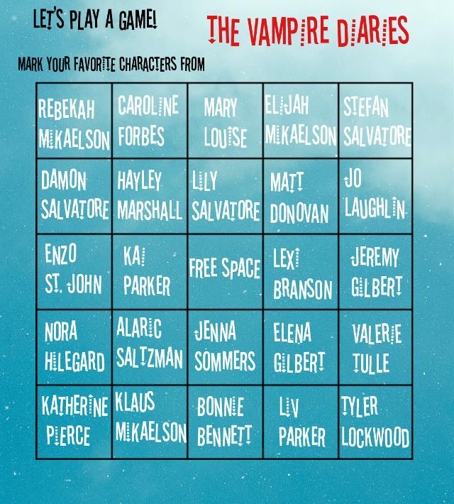 The Vampire Diaires Bingo!   Made by me!  #vampire #thevampirediaries #vampirediaries #tvd #TVD #game #bingo #salvatore #fun #games #freetoedit