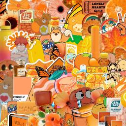 orange aesthetic background backround collage freetoedit