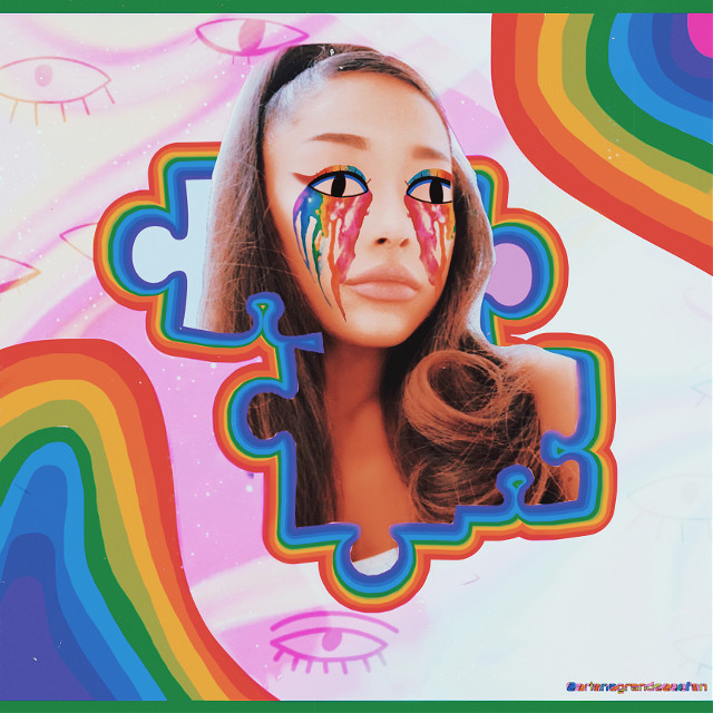 It was so hard to remove Ariana's eyes, but I think it worked! I hope you like the edit💗 #arianagrande #ariana #grande #rainbow #puzzel #eyes #drippingeyes #rainbowmakeup  #freetoedit