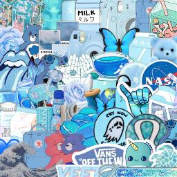 blue collage aesthetic background backround freetoedit