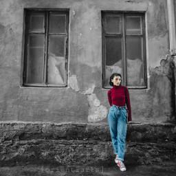 colorsplasheffect colorsplash blackandwhite thoughtful girl freetoedit ftestickers