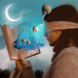 freetoedit girl book baloons dust srchotairballoons