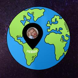 earth freetoedit girl frames globe