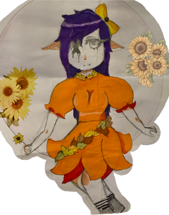 freetoedit sunflowers anime drawing people