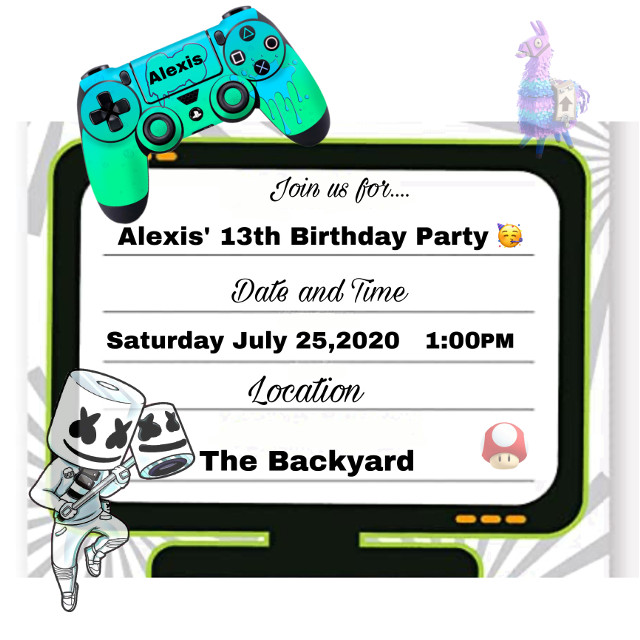 My kid's birthday invitation with your art 🥰 ty #interesting #birthday #invitations #party #kidsparty #partyideas #music #llamasquad #controlps4 #ps4 #outdoors #names #djmarshmello #fortnite #fortnitelife #gamer #gamerparty #supermario #easteregg #celebration