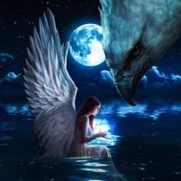freetoedit eagle girl wings angel