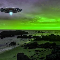 freetoedit planet aliens sky green