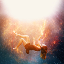 freetoedit madewithpicsart girl falling galaxy