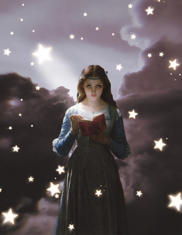 #freetoedit #clouds #sky #woman #stars #reading #ftestickers #madewithpicsart #picsarteffects