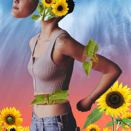 freetoedit nature sunflawer sunflowers girl