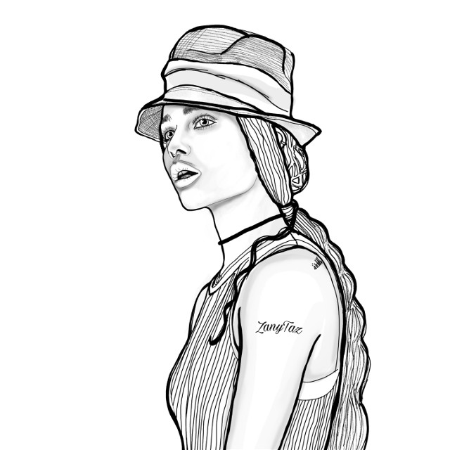 This is Lisa Bonet's daughter, Zoë Isabella Kravitz🌷🌿 She's one beautiful young lady.  #myart #outline #outlineart #lineart #linedrawing #sketch #sketchart #celebrity #beauty #illustration #illustrationoftheday #drawing #portraitdrawing #hat #colorme #drawtool #lines #freetoedit