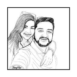 blackandwhite drawing sketch couple