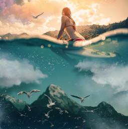 freetoedit woman surfer ocean mountains