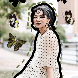 freetoedit butterflies woman womansitting brushseffect ircsimplestyle simplestyle