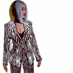 cardib rapper zebra zebraprint illustration freetoedit