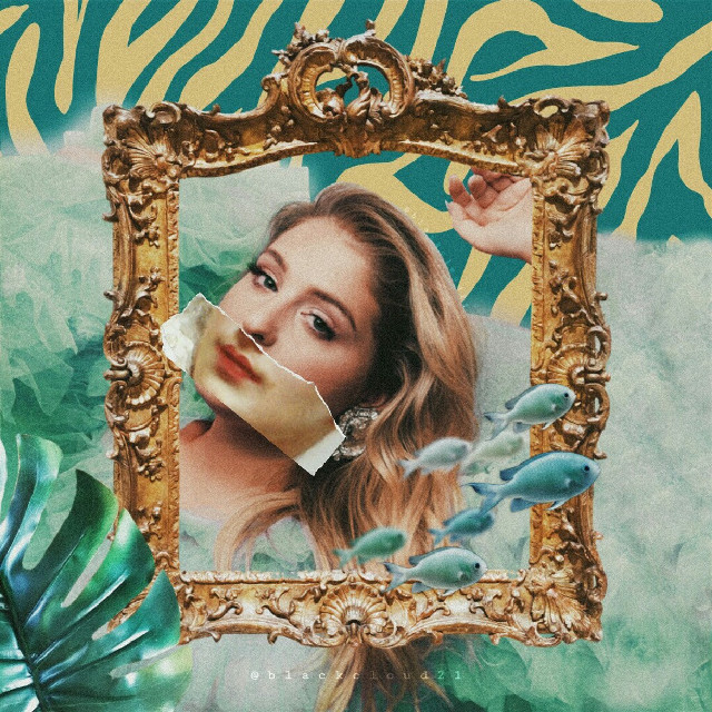 🎊 2nd place! 🎉✨🌟 #ircmeghantrainorfanremix #meghantrainorfanremix #meghantrainor #madewithpicsart #madebyme #myedit #colorful #tropicalleaves #fish #goldenframe #yellow #turquoise #painted #freetoedit @picsart