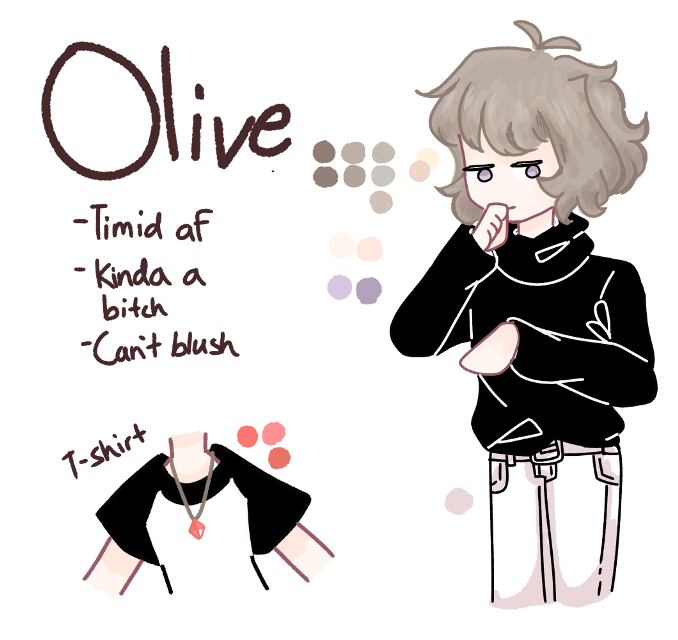 Whoops i havent posted in a long time.     ANYWAY olive is so cute omgomgomg her hair is super duper colourful and i never coloured hair that way to help.  #blond #shy #ref #art #girl  #freetoedit